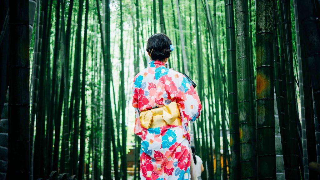 フォトセッション風景のイメージ画像(竹林に佇む浴衣の女性)