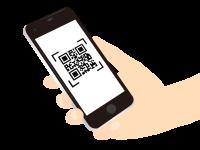 QRコードをスマートフォンで読み取る動作を示すアイコン
