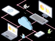 デジタル社会におけるクラウドと通信機器の関係を示すイメージ図